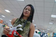 Sizzling Filipina babe in leopard print get dressed stalked in mall for a day fuck consultation