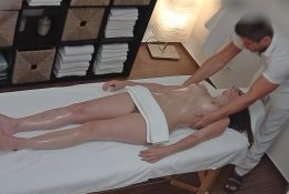 Younger Brunette with Glasses Seduced on Therapeutic massage Desk