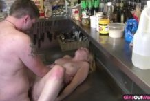Ribald pair screwing in the kitchen for GirlsOutWest