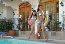 Two sexy Filipina sisters proportion white cock in combination