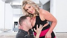 Jizz-eating, busty mother I'd like to fuck copulates abode guest