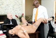 Bossy wifey tries dark stiffy in front of hubby