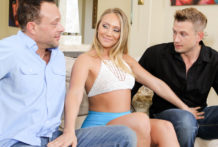 Luxurious AJ Applegate picks up a boy for trio with husband.