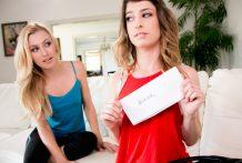 Bookish Kristen has a tromp on her beautiful neighbour Alexa