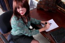 Auburn haired office mommy