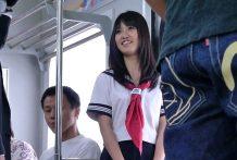 Beautiful schoolgirl enjoys to journey with trains