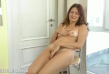 Helen Volga rubs her bushy pussy to climax