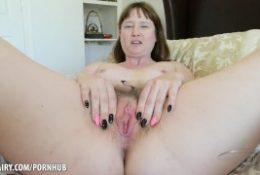 Thelma Sleaze fucks furry pussy till she cums