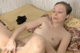 Trixie finishes studying and masturbates in mattress