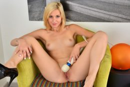 Blonde coed makes use of a vibrating toy to achieve orgasmic excitement