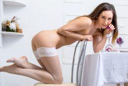 Gorgeous lady subsequent door massages her crimson twat