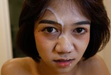 18yo sweet Thai ladyboy gets a face-full of cum from BWC