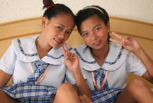 Two naughty Filipina schoolgirls eat pussy and get fucked