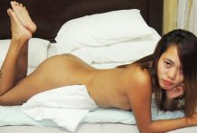 Thin tattooed Pinay throats white dick and receives facial