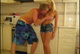 Lustful intercourse in kitchen